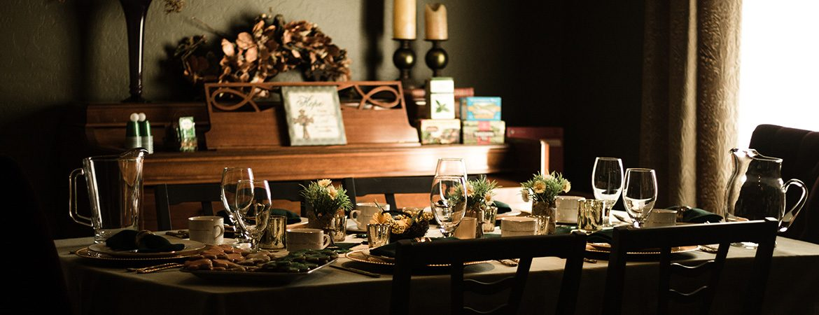 dinner table set for a meal