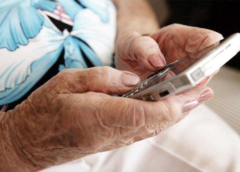 senior using smart phones