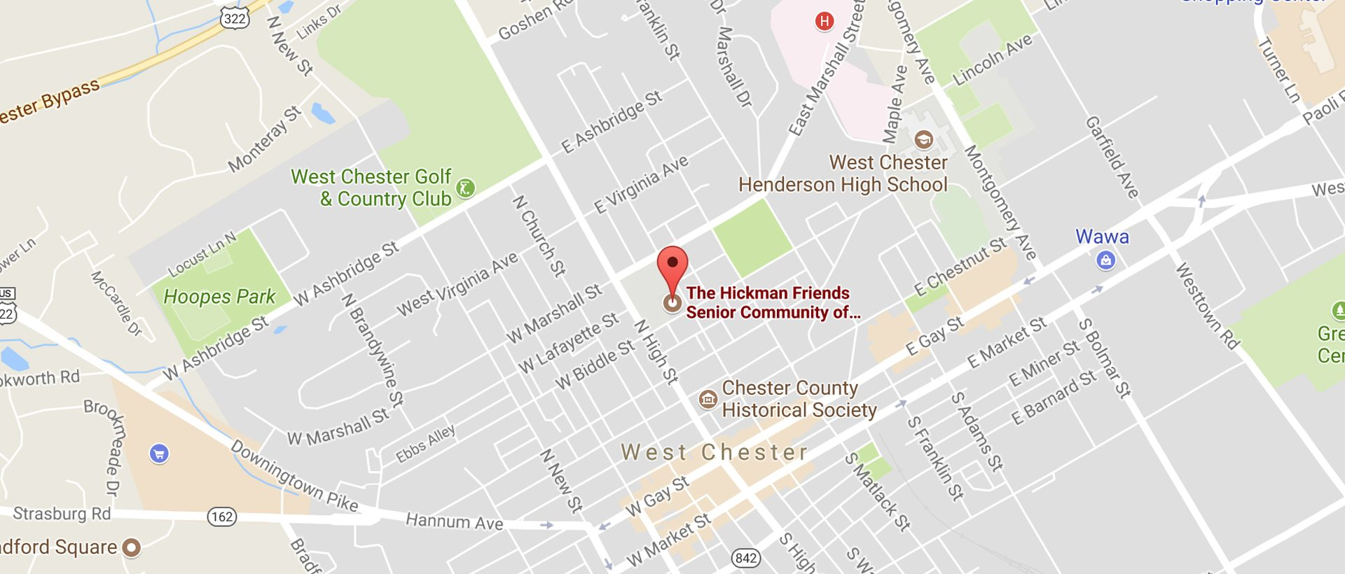 Map of The Hickman in West Chester PA
