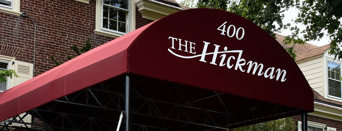 Exterior of The Hickman with awning.
